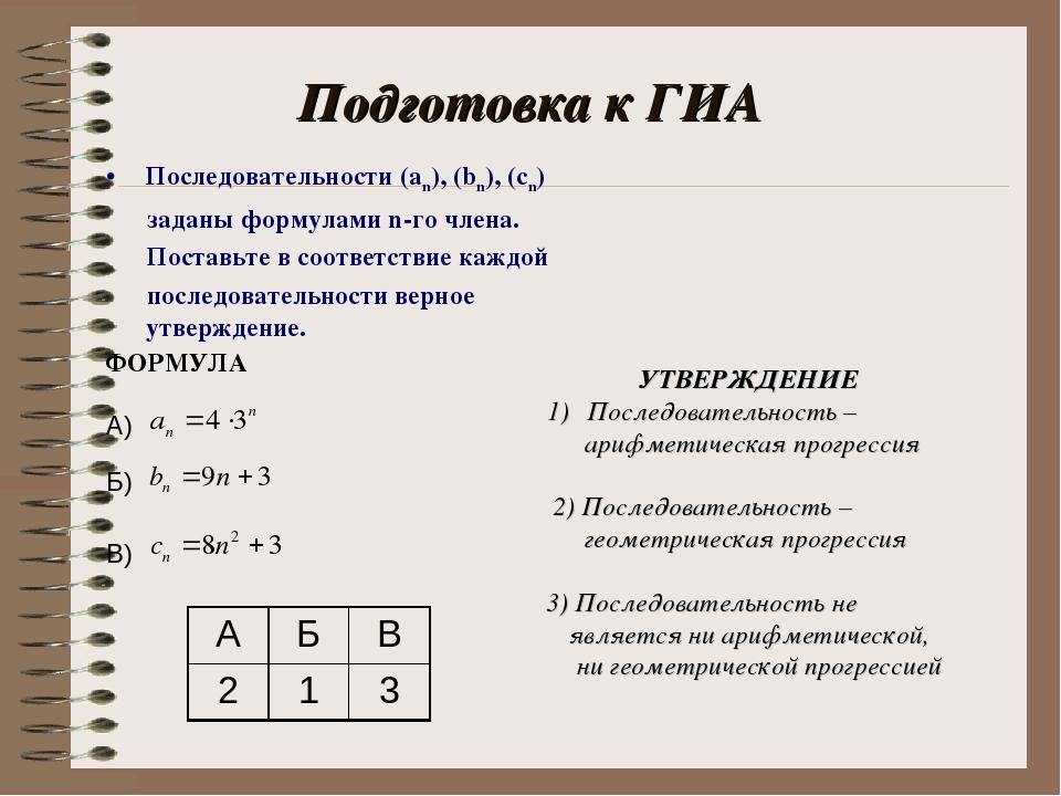 Подготовка к ГИА Последовательности (an), (bn), (cn) заданы формулами n-го чл...
