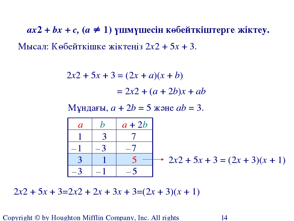 Factoring Polynomials of the Form ax2 + bx + c Copyright © by Houghton Miffli
