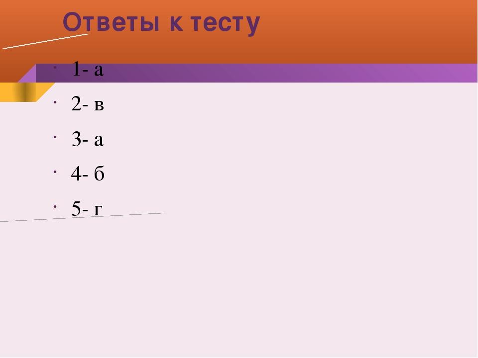 Ответы к тесту 1- а 2- в 3- а 4- б 5- г