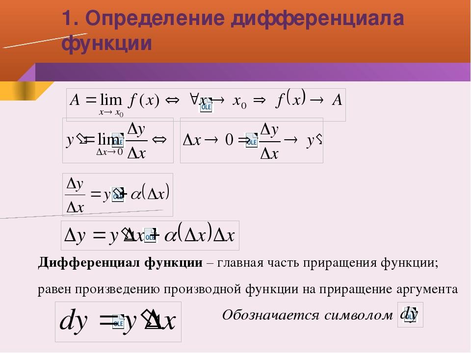 Дифференциал функции – главная часть приращения функции; равен произведению п...
