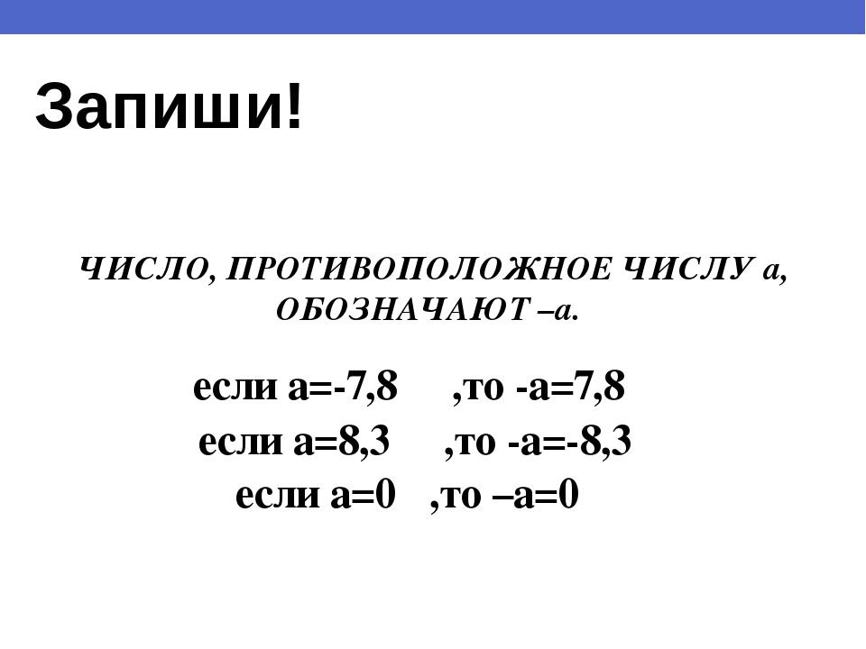 Запиши! ЧИСЛО, ПРОТИВОПОЛОЖНОЕ ЧИСЛУ a, ОБОЗНАЧАЮТ –a. если a=-7,8 ,то -a=7,8...