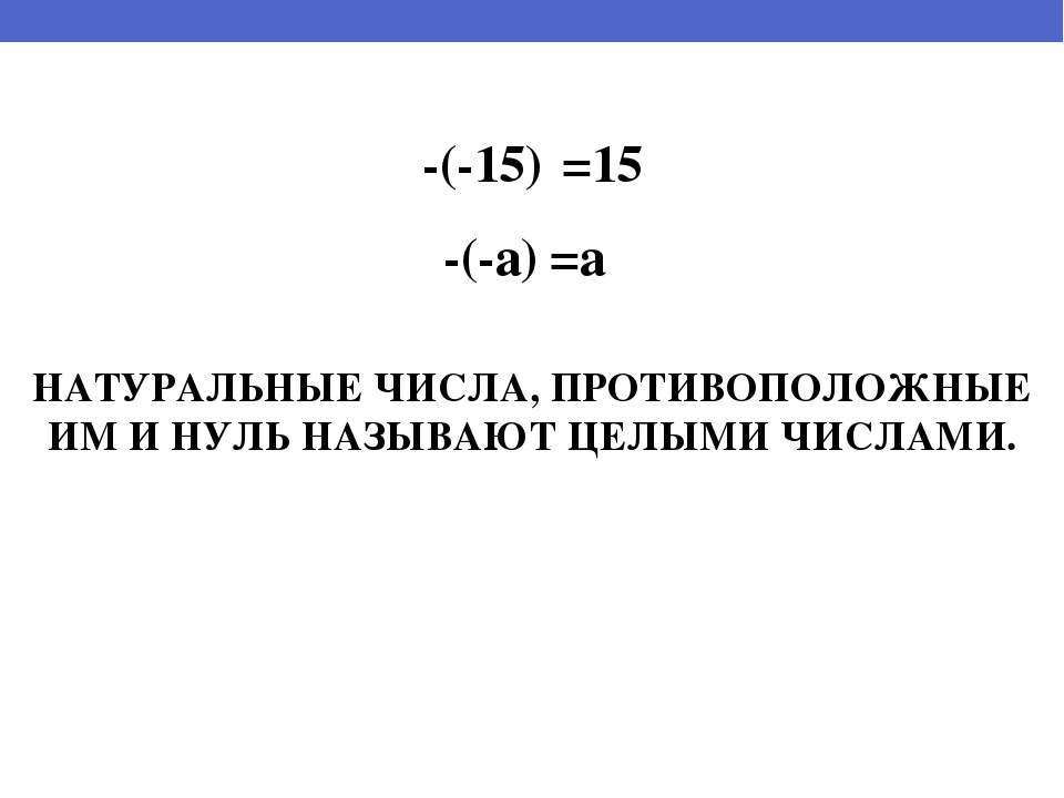-(-15) =15 -(-a) =a НАТУРАЛЬНЫЕ ЧИСЛА, ПРОТИВОПОЛОЖНЫЕ ИМ И НУЛЬ НАЗЫВАЮТ ЦЕЛ...