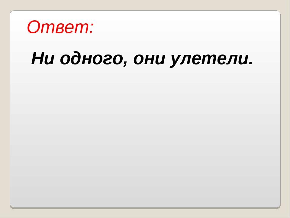 Ответ: Ни одного, они улетели. Власенко Юлия Сергеевна МОУ ООШ № 5 г. Качкана...