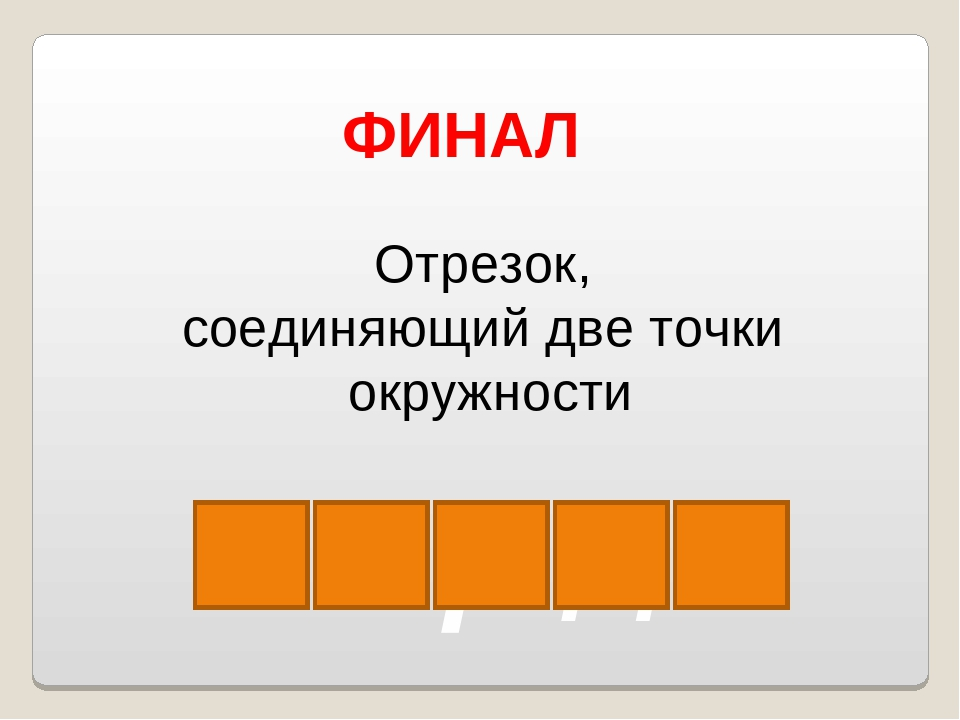 х о р д а ФИНАЛ Отрезок, соединяющий две точки окружности Власенко Юлия Серге...