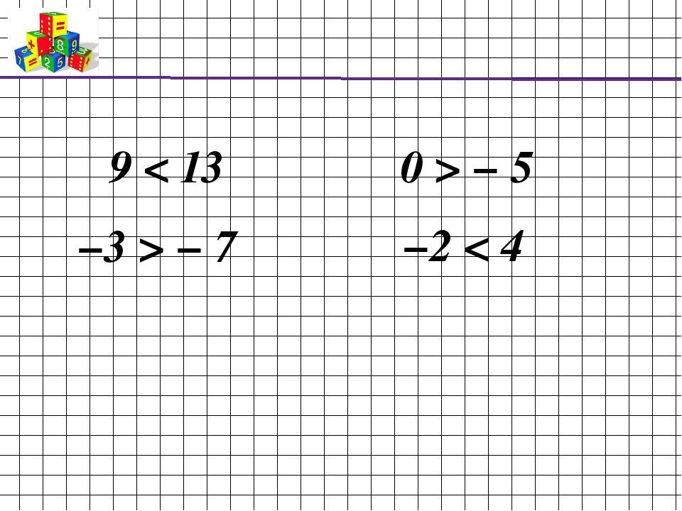 9 < 13 −3 > − 7 0 > − 5 −2 < 4