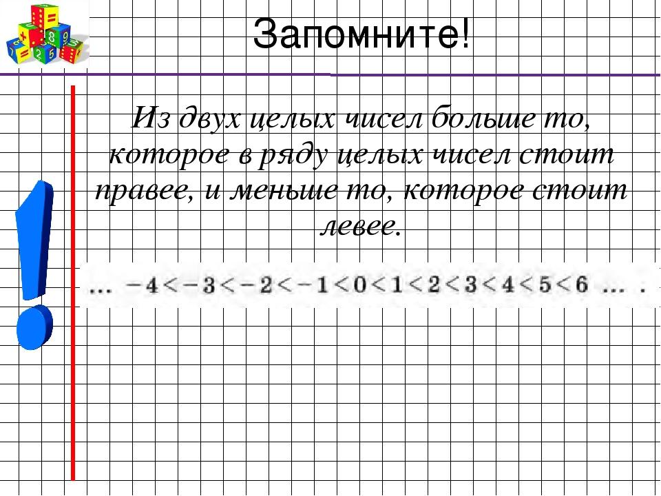 Запомните! Из двух целых чисел больше то, которое в ряду целых чисел стоит пр...