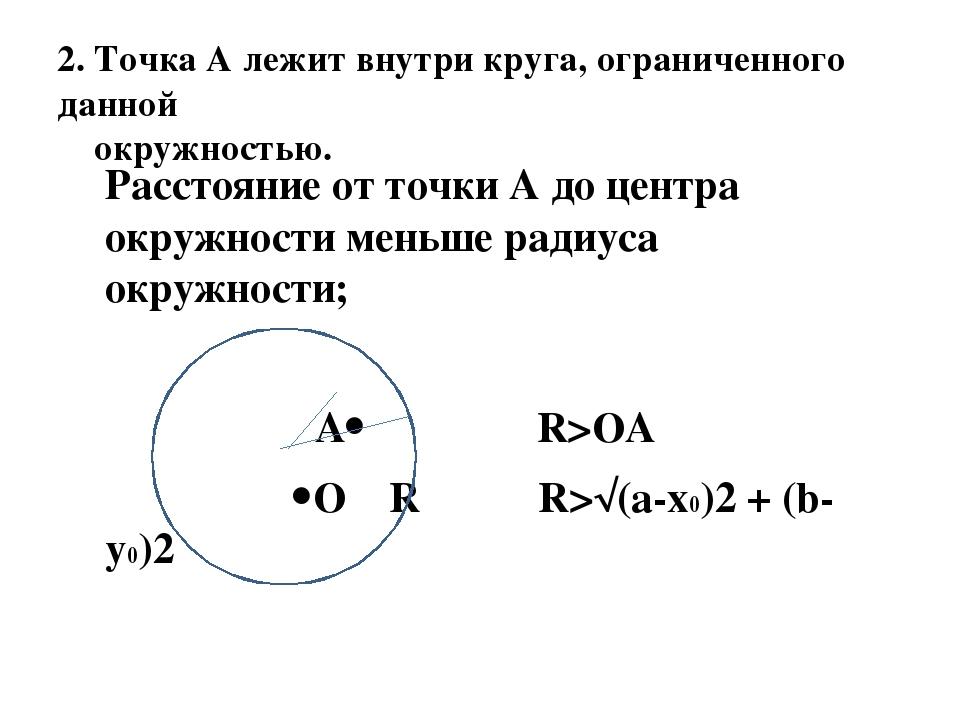 2. Точка А лежит внутри круга, ограниченного данной окружностью. Расстояние о...