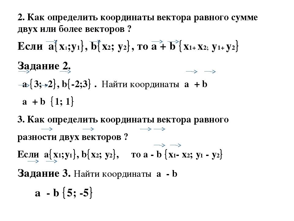 2. Как определить координаты вектора равного сумме двух или более векторов ?...