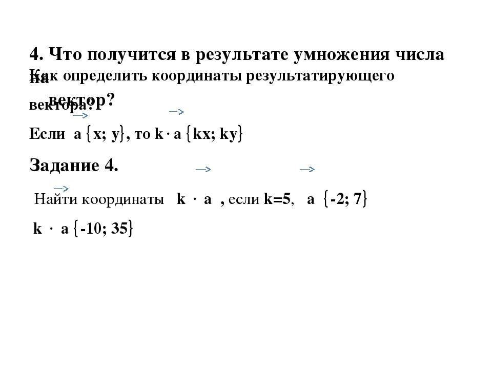4. Что получится в результате умножения числа на вектор? Как определить коорд...