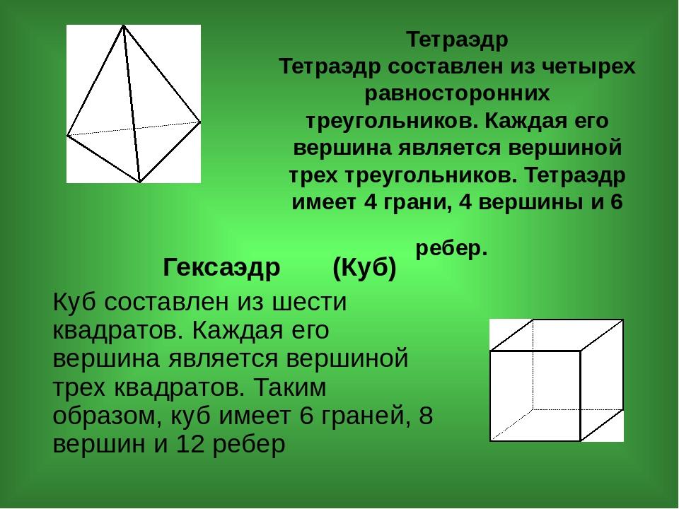 Тетраэдр Тетраэдр составлен из четырех равносторонних треугольников. Каждая е...