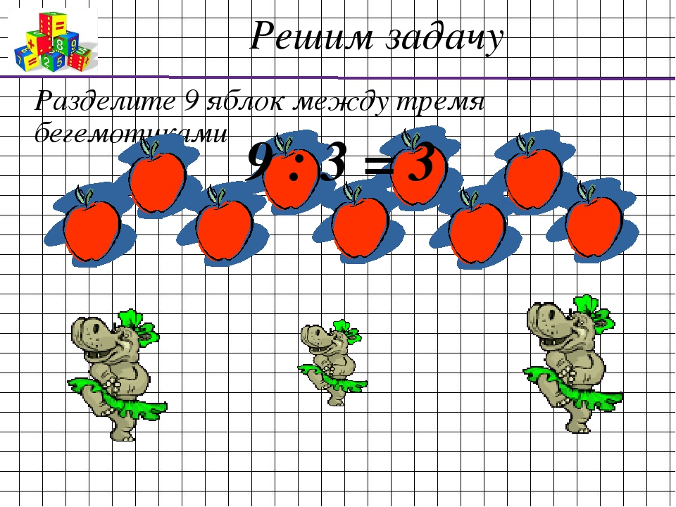 Разделите 9 яблок между тремя бегемотиками 9 : 3 = 3 Решим задачу
