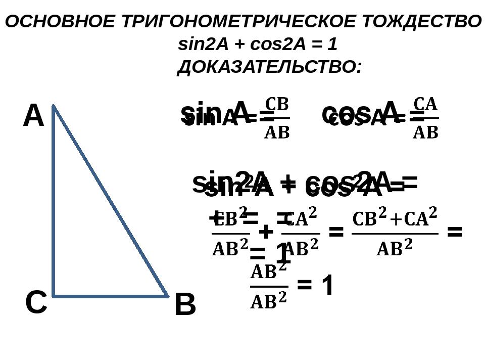 ОСНОВНОЕ ТРИГОНОМЕТРИЧЕСКОЕ ТОЖДЕСТВО sin2A + cos2A = 1 ДОКАЗАТЕЛЬСТВО: С А В