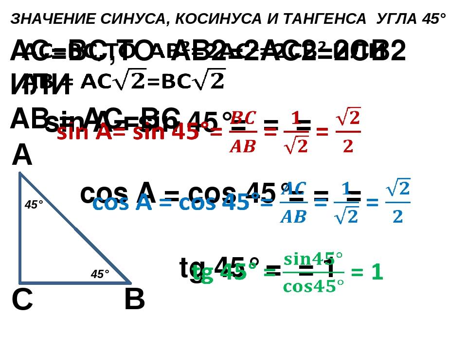 ЗНАЧЕНИЕ СИНУСА, КОСИНУСА И ТАНГЕНСА УГЛА 45° С А В 45° 45°