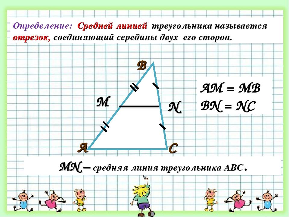 С В А М N МN – средняя линия треугольника АВС. Определение: Средней линией тр...