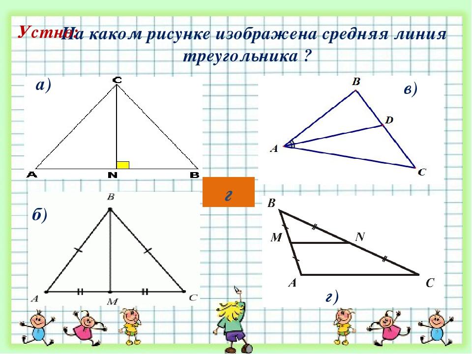 На каком рисунке изображена средняя линия треугольника ? а) г) б) в) Устно: г