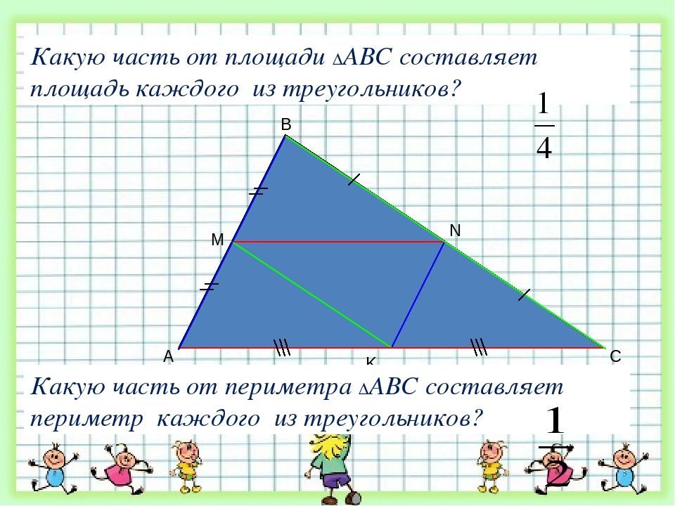 A B C M K N Какую часть от площади ∆АВС составляет площадь каждого из треугол...