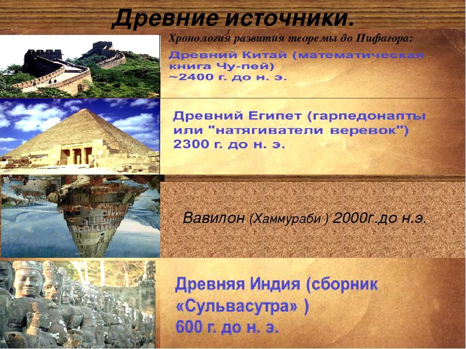 Древние источники.  Хронология развития теоремы до Пифагора: Вавилон(Хаммура...