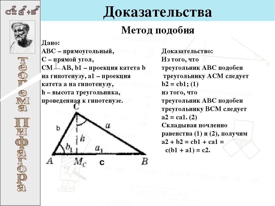 Доказательства с b Дано: ABC – прямоугольный, C – прямой угол, CM AB, b1– пр...