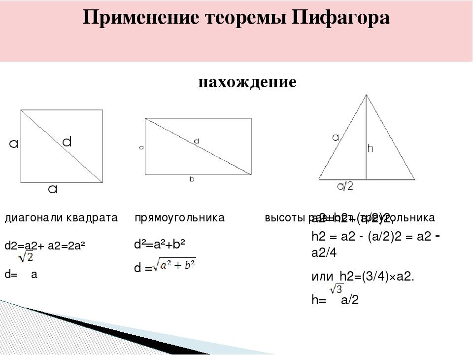Применение теоремы Пифагора нахождение диагонали квадрата прямоугольника высо...