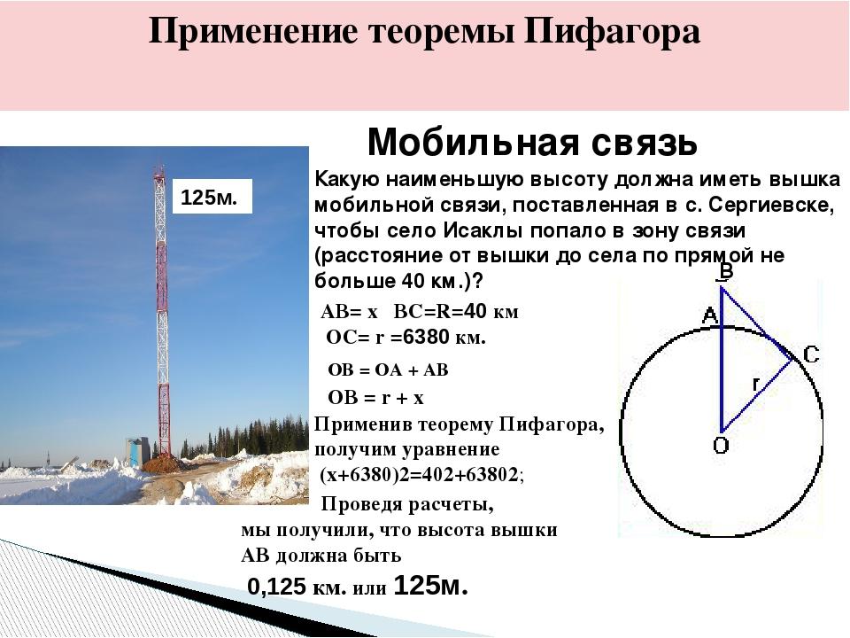 Мобильная связь Применение теоремы Пифагора Какую наименьшую высоту должна им...