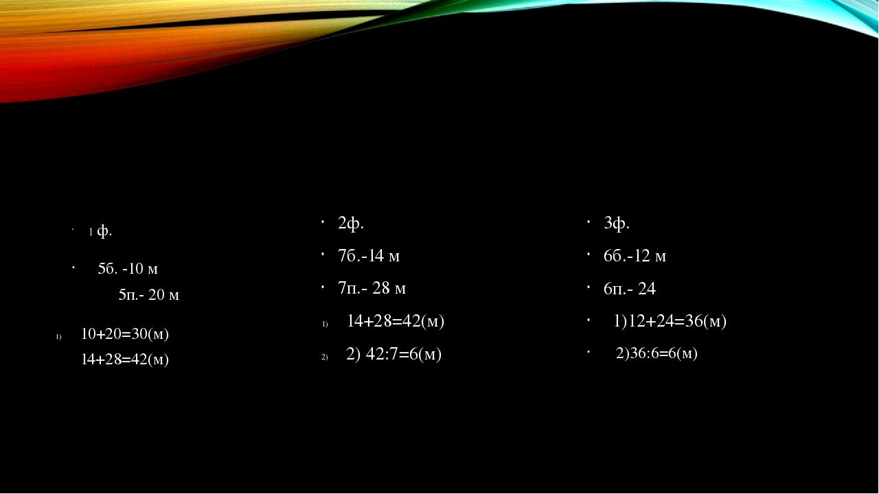 1 ф. 5б. -10 м 5п.- 20 м 10+20=30(м) 14+28=42(м) 2ф. 7б.-14 м 7п.- 28 м 14+28...