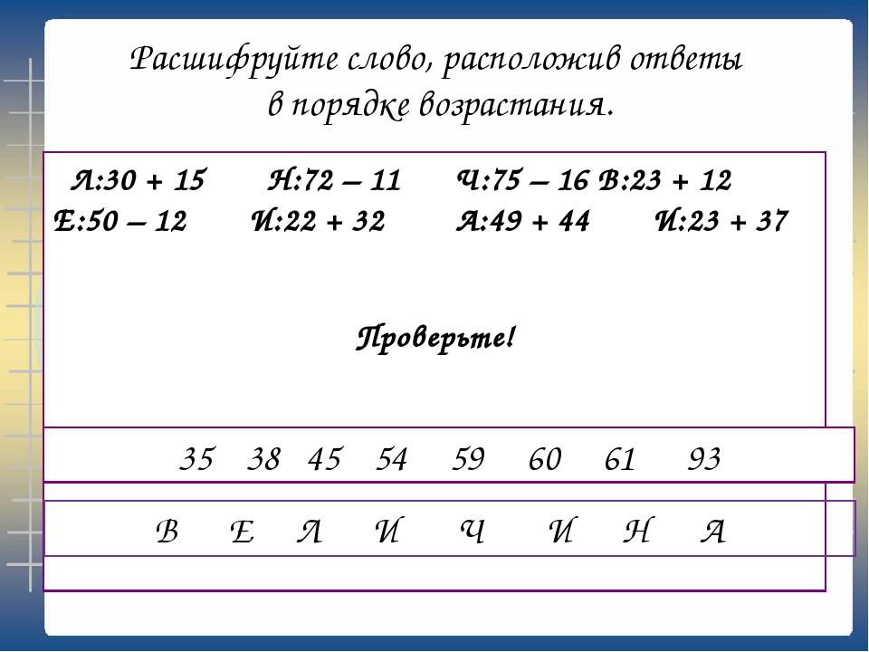 Расшифруйте слово, расположив ответы в порядке возрастания. Л:30 + 15 Н:72 –...
