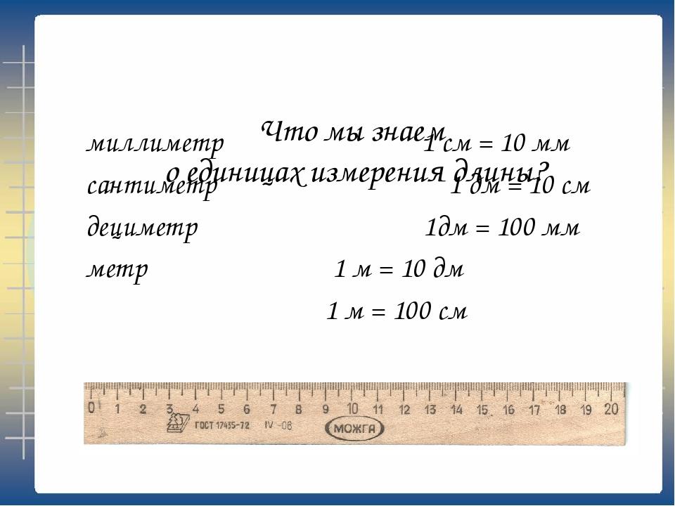 миллиметр сантиметр 1 дм = 10 см дециметр 1дм = 100 мм метр 1 м = 10 дм 1 м =...