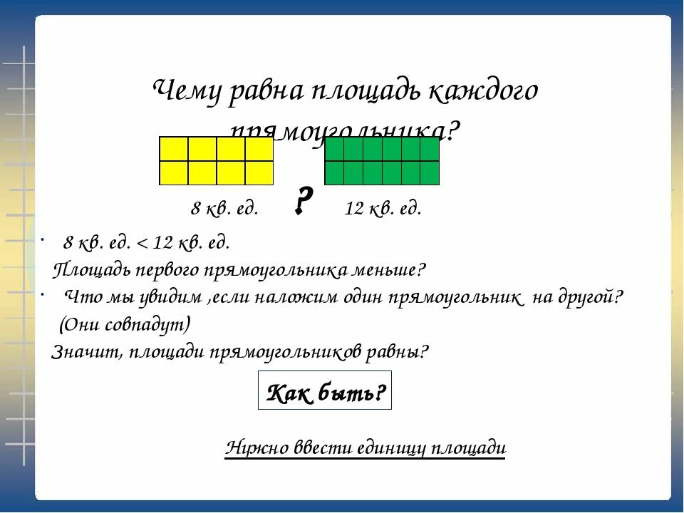 Чему равна площадь каждого прямоугольника? 8 кв. ед. < 12 кв. ед. Площадь пер...