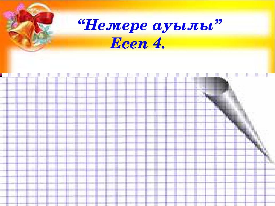 """""""Немере ауылы"""" Есеп 4."""