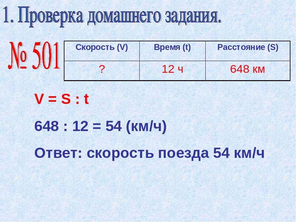 V = S : t 648 : 12 = 54 (км/ч) Ответ: скорость поезда 54 км/ч Скорость (V) Вр...