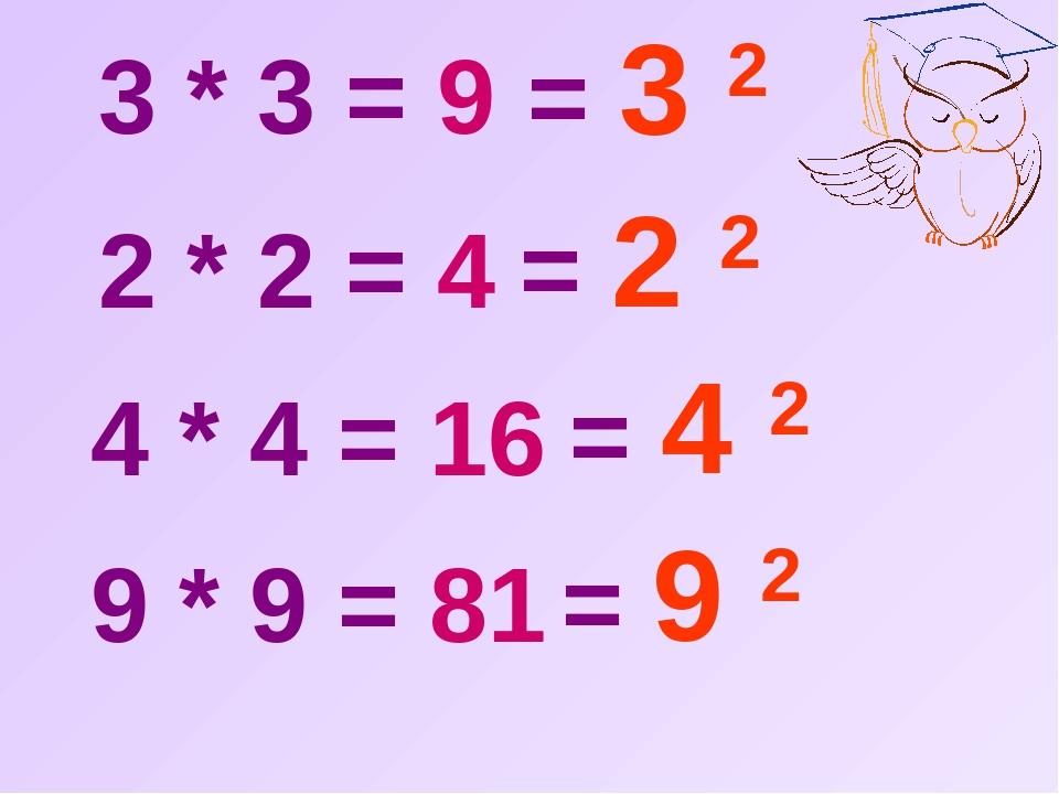 3 * 3 = 9 2 * 2 = 4 4 * 4 = 16 9 * 9 = 81 = 3 2 = 2 2 = 4 2 = 9 2