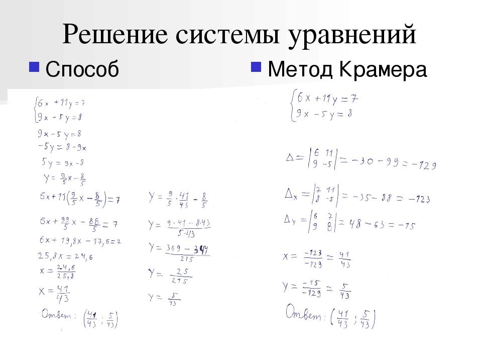 Решение системы уравнений Способ подстановки Метод Крамера