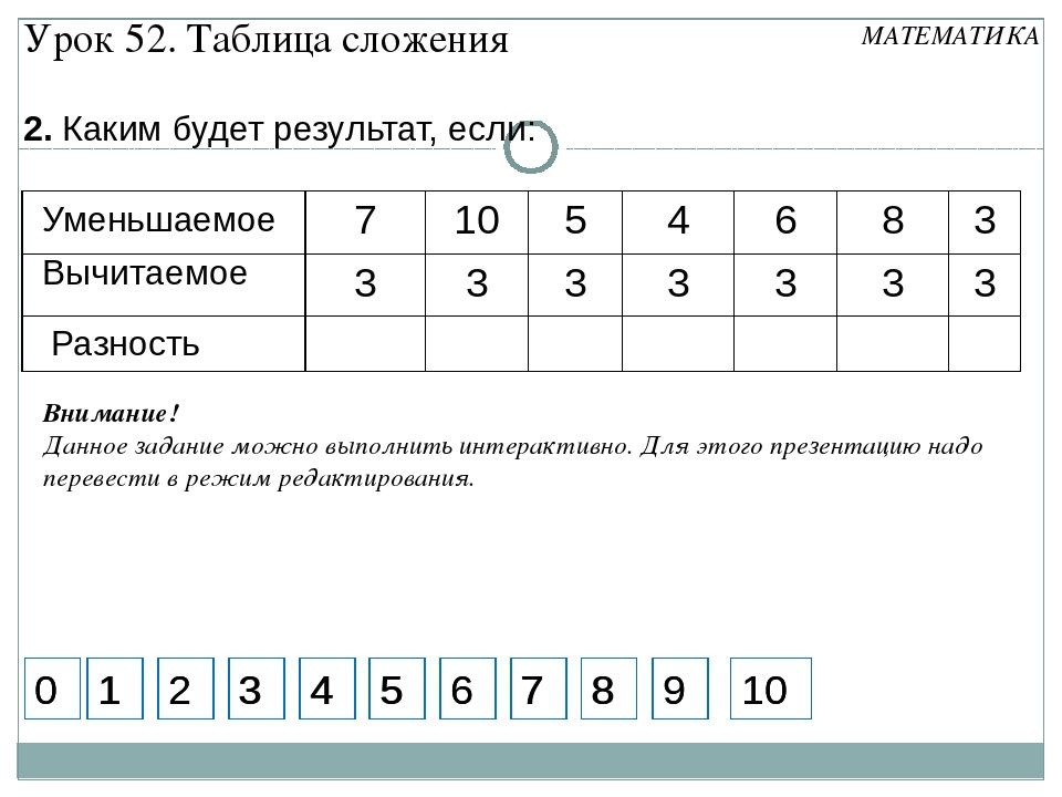 2. Каким будет результат, если: Вычитаемое Уменьшаемое 5 7 1 2 3 4 6 8 9 Вним...