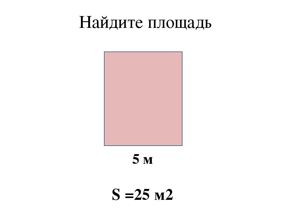 Найдите площадь 5 м S =25 м2