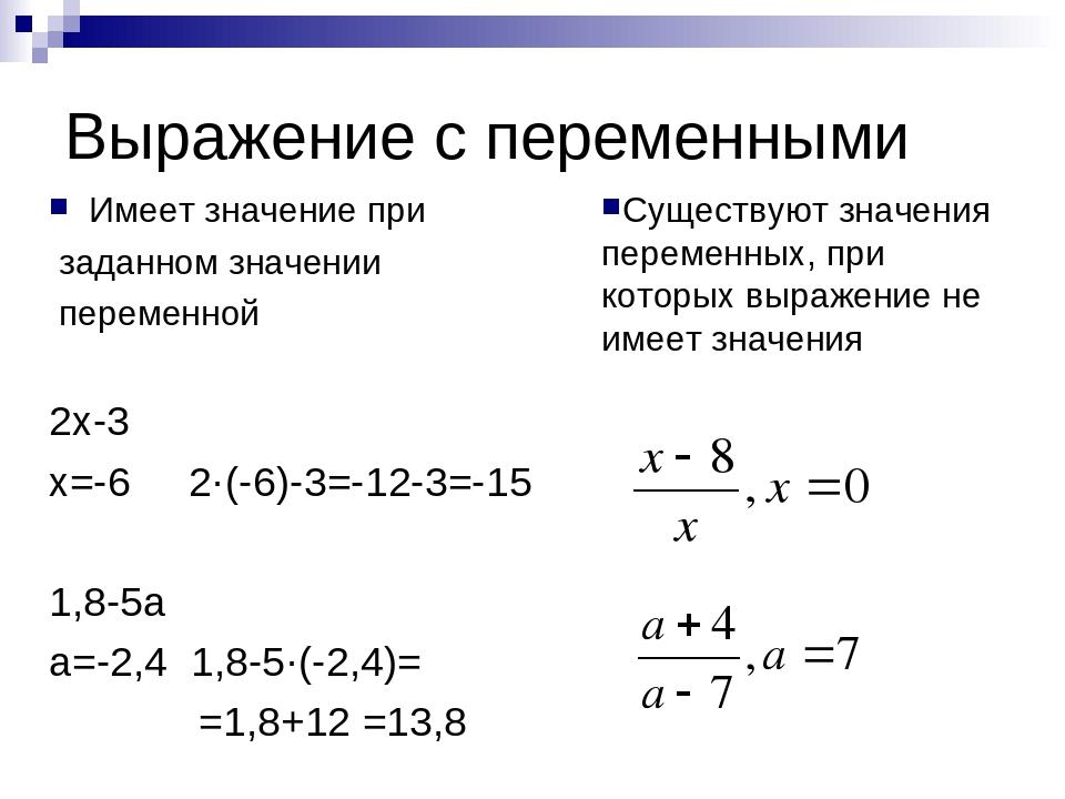Выражение с переменными Имеет значение при заданном значении переменной 2х-3...