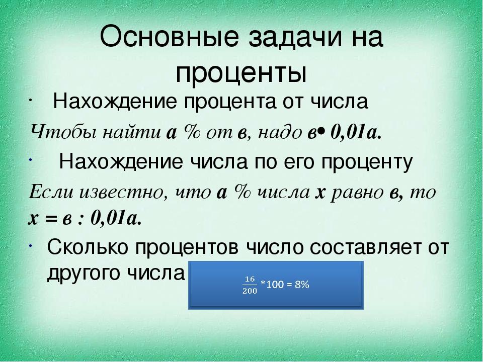 Основные задачи на проценты Нахождение процента от числа Чтобы найти а % от в...