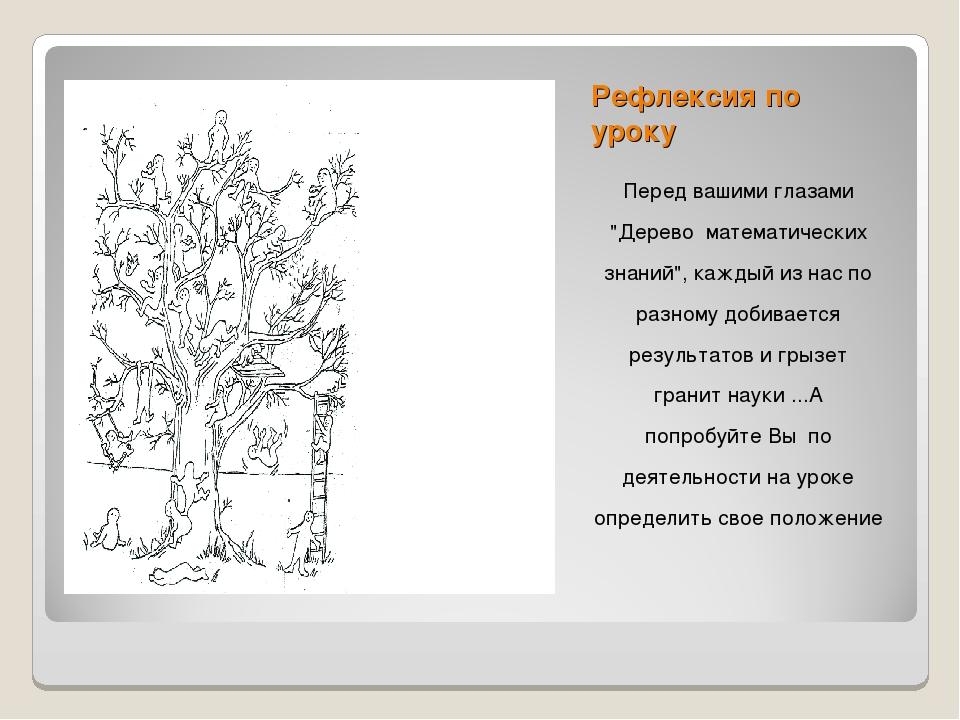 """Рефлексия по уроку Перед вашими глазами """"Дерево математических знаний"""", кажды..."""