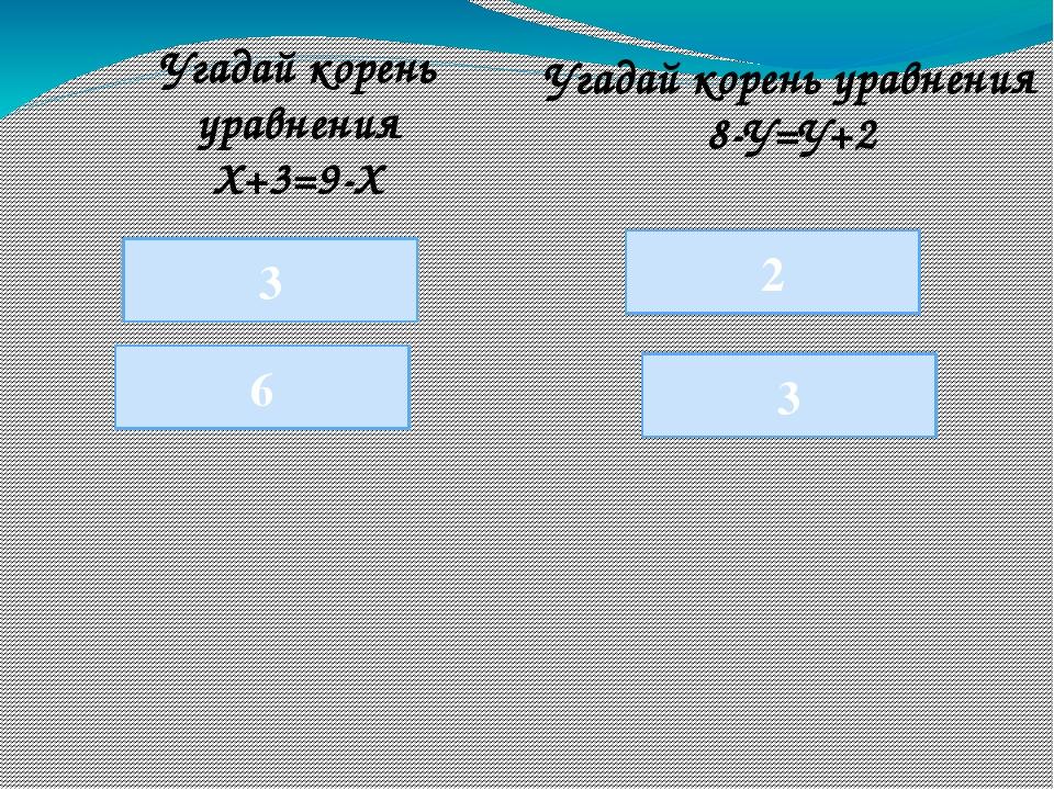 3 6 3 Угадай корень уравнения Х+3=9-Х 2 Угадай корень уравнения 8-У=У+2