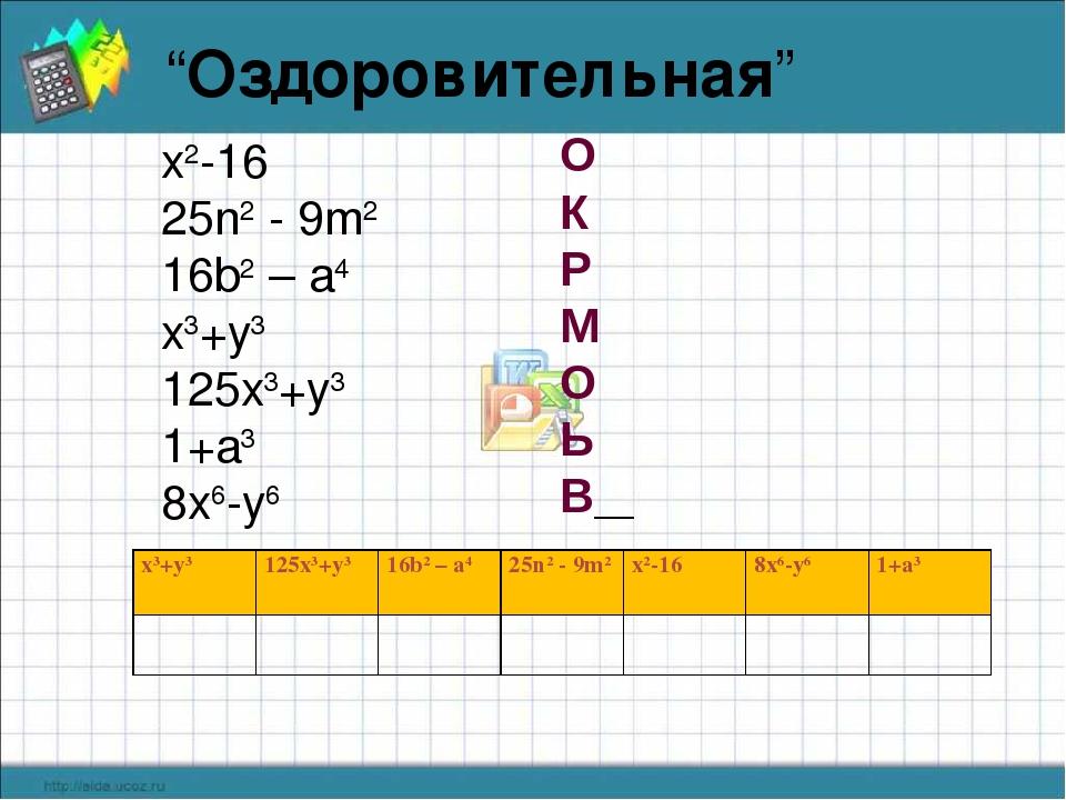 """""""Оздоровительная"""" x2-16 25n2 - 9m2 16b2 – a4 x3+y3 125x3+y3 1+a3 8x6-y6 О К Р..."""