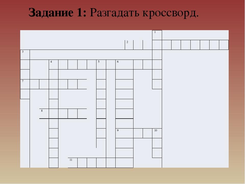 Задание 1: Разгадать кроссворд.  1  2 3 4 5 6 7 8 9 10 11