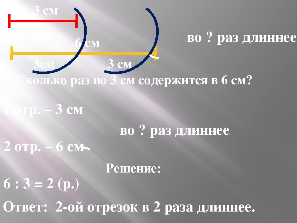 во ? раз длиннее 1 отр. – 3 см 2 отр. – 6 см во ? раз длиннее Решение: 6 : 3...