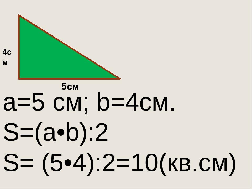 a=5 см; b=4см. S=(a•b):2 S= (5•4):2=10(кв.см) 4см 5см