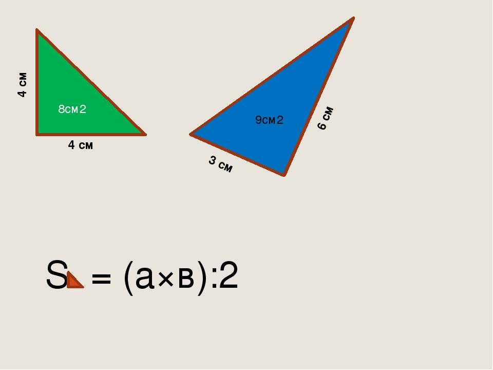 8см2 4 см 4 см 6 см 3 см S = (а×в):2 9см2