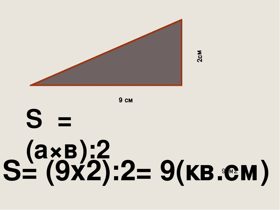 2см 9 см S = (а×в):2 9см2 S= (9x2):2= 9(кв.см)
