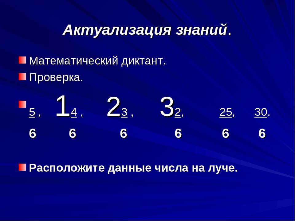 Актуализация знаний. Математический диктант. Проверка. 5 , 14 , 23 , 32, 25,...
