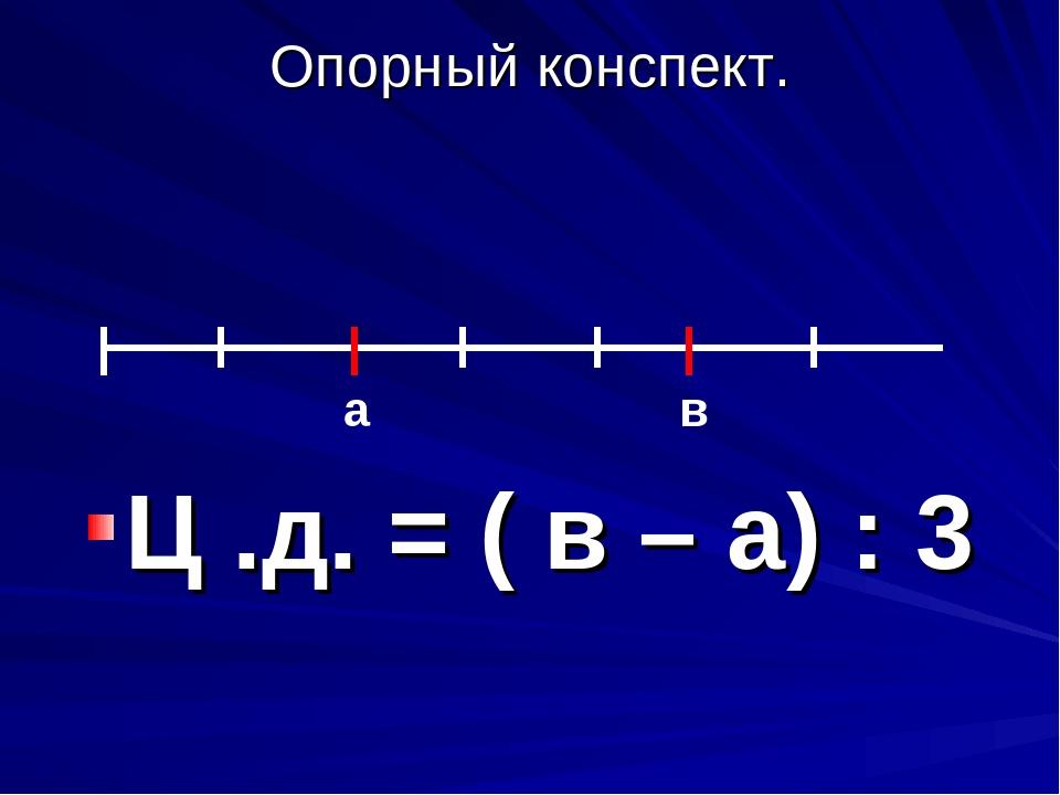 Опорный конспект. Ц .д. = ( в – а) : 3 a в