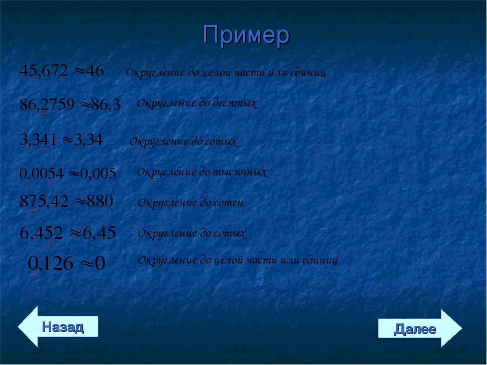 Пример Назад Далее Округление до целой части или единиц Округление до десятых...