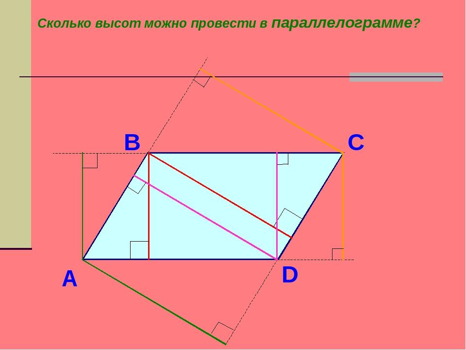 А D С В Сколько высот можно провести в параллелограмме?