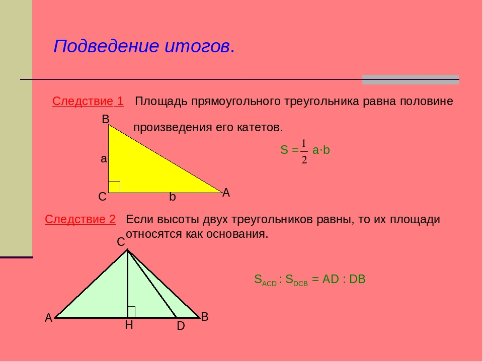 Следствие 1 Площадь прямоугольного треугольника равна половине произведения е...