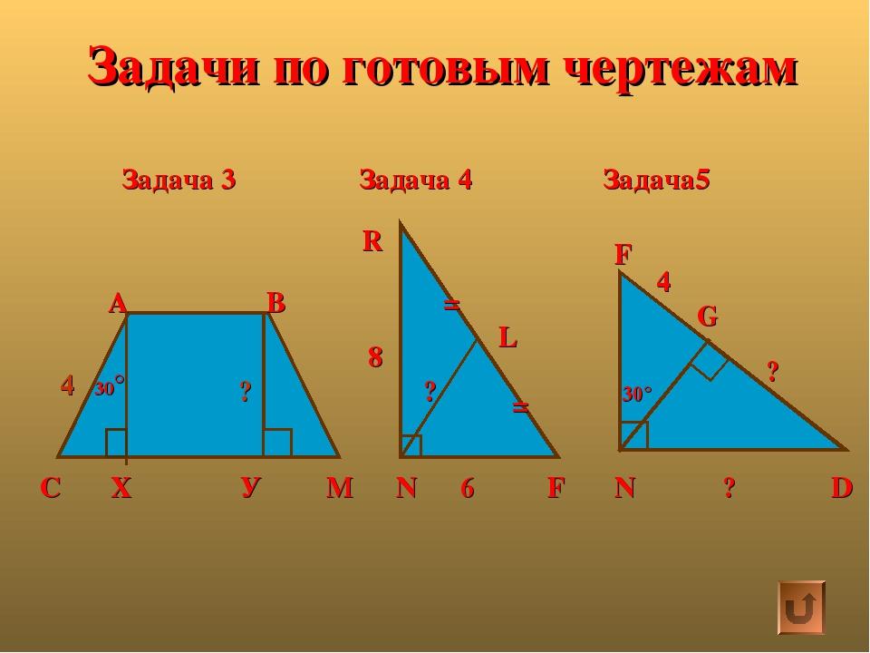 Задачи по готовым чертежам Задача 3 Задача 4 Задача5 С Х У М А В 30° R 8 N 6...
